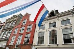 Holländsk flagga på konungdag Royaltyfri Foto