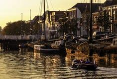Holländsk kanal Thorbeckegracht Zwolle Fotografering för Bildbyråer