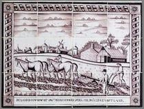 Holländsk tegelplatta från 16th till det 18th århundradet Arkivfoton
