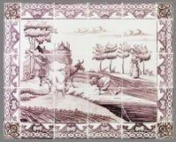 Holländsk tegelplatta från 16th till det 18th århundradet Arkivbild