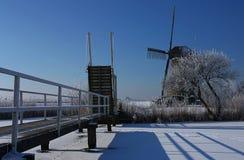 Holländsk windmilll i vinter Arkivbilder