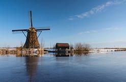 Holländsk winterlandscape med väderkvarnen Arkivfoton