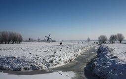 Holländsk winterlandscape med väderkvarnen Royaltyfri Bild