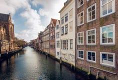 Holländska kanalhus Arkivfoto