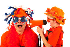 holländska orange fotbollsupportrar royaltyfria bilder