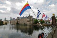 Holländska provinsiella flaggor i Haag royaltyfri foto