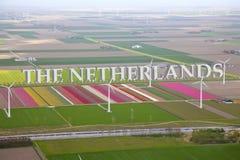 Holländskt färgglat blommafält från över Royaltyfria Foton