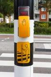 Holländskt fot- ljus med knappen och text som väntar på grönt l Fotografering för Bildbyråer