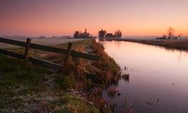 Holländskt landskap på soluppgång Royaltyfri Foto