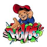 Holla Back Cell Phone Graffiti. Hip hop style man with cell phone with Holla Graffiti Royalty Free Stock Photo
