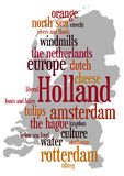 Holland. Outline of map of The Netherlands with 'all things Dutch Stock Image