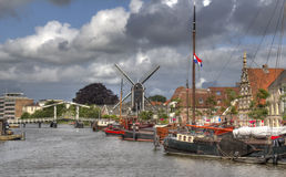 Holland. Canal with boats inLeiden, Holland Royalty Free Stock Images