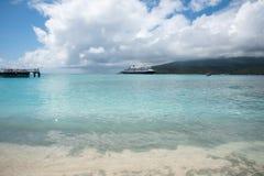 Holland America Line Cruise: Mystery Island. MYSTERY ISLAND, VANUATU, PACIFIC ISLANDS-DECEMBER 2,2016: Holland America Line cruise ship and tender boat with Stock Images