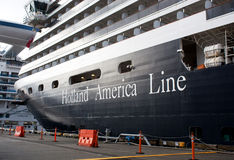 Holland America Ship in Port. The Holland America ship Westerdam in port in Alaska stock photos