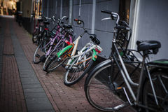 Holland, Amsterdam, bicycles parking Stock Images