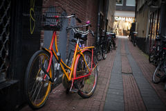 Holland, Amsterdam, bicycles parking Royalty Free Stock Photos