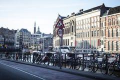 Holland, Amsterdam, bicycles parking Stock Photos