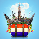 Holland, Amsterdam landmarks, travel. And retro suitcase royalty free stock photos