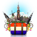 Holland, Amsterdam landmarks, travel. And retro suitcase stock image