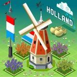 Holland Barn isométrica - edificio del molino de viento Fotos de archivo