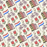 Holland doodles vector background. Netherlands seamless pattern for design. Vector illustration Royalty Free Stock Photos