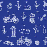 Holland famous items seamless pattern. Blue Royalty Free Stock Images