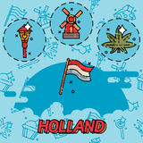 Holland flat concept icons. Symbols travel set and europe culture . Vector illustrations with Netherlands symbols Royalty Free Stock Photo