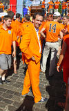 Holland football fans walk on a street of Kharkiv Royalty Free Stock Photos