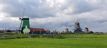 Haanse Schans windmills Stock Photos