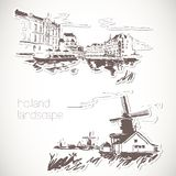 Holland hand drawn landscape in vintage style Royalty Free Stock Photos