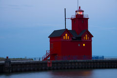 Holland Harbor South Pierhead Lighthouse Royaltyfria Foton