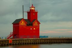 Holland Harbor South Pierhead Lighthouse Arkivbilder