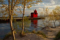 Holland Harbor South Pierhead Lighthouse. Or Big Red in Michigan Stock Photo
