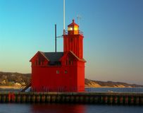 Holland Harbor South Pierhead Lighthouse. Or Big Red in Michigan Royalty Free Stock Photography