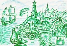 Holland landscape, painting Stock Photos