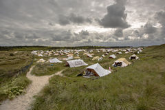 Holland landscape with tents on a camp site Stock Image