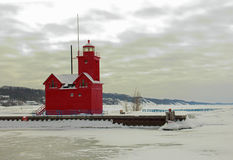 Holland lighthouse. In the winter at Holland State Park in Ottawa County MI royalty free stock photography