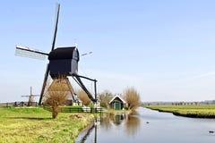 holland młyny meandrują drewnianego Zdjęcie Royalty Free