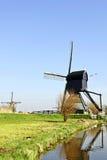 holland młyny meandrują drewnianego Obrazy Stock