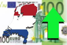 Holland map on Euro money background and green arrow rising Royalty Free Stock Photos