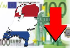 Holland map on Euro money background and Red arrow down Royalty Free Stock Photography