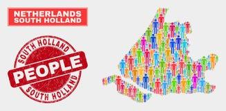 Holland Map Population Demographics sul e selo de borracha ilustração royalty free