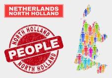 Holland Map Population People du nord et phoque corrodé de timbre illustration stock