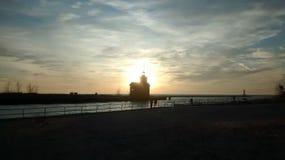 Holland, MI 2014. Lighthouse Lake Michigan Holland, MI Sunset Stock Photo