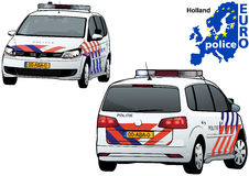 Holland Police Car. Colored Illustration from Series Euro police, Vector Royalty Free Stock Photo