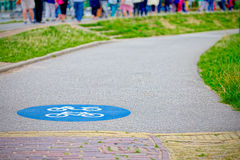 Holland, road for bicycles and associated symbol (shallow DOF) Stock Photos