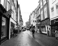 Holland road. Den haag center town black and white street people building home city tourism Stock Images