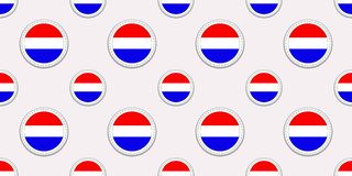 Holland round flag seamless pattern. The Netherlands background. Vector circle icons. Geometric symbols. Texture for sports pages, stock illustration