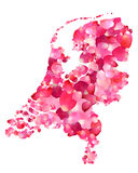 Holland. Silhouette of Netherlands map of rose petals Royalty Free Stock Photos