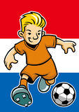 Holland soccer player with flag background Stock Images